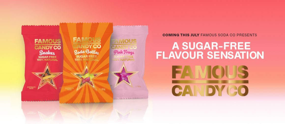 Famous Candy Co. Coming this July, Famous Soda Co presents a sugar-free flavour sensation. Famous Candy Co. snakes, soda bottles and pink frogs.